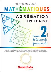 Dernières parutions sur Maths à l'université, Agrégation interne de mathématiques tome 2