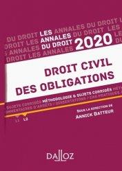Dernières parutions dans Annales du Droit, Annales Droit civil des obligations. Méthodologie & sujets corrigés, Edition 2020