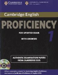 Dernières parutions sur CPE, Cambridge English Proficiency 1 for Updated Exam - Self-study Pack (Student's Book with Answers and Audio CDs (2)) Authentic Examination Papers from Cambridge ESOL