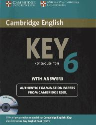 Dernières parutions sur Cambridge English Key and Key for Schools, Cambridge English Key 6 - Self-study Pack (Student's Book with Answers and Audio CD)