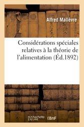 Dernières parutions dans Agronomie et Agriculture, Considérations spéciales relatives à la théorie de l'alimentation