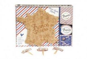 Dernières parutions sur Buffets et apéritifs, Coffret La France de l'apéro. Avec une planche en bois gravée, 8 sous-verres et 25 piques pour l'apéro