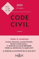 Nouvelle édition Code civil annoté. Edition 2020