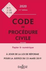 Dernières parutions sur Procédure civile, Code de procédure civile annoté. Edition 2020