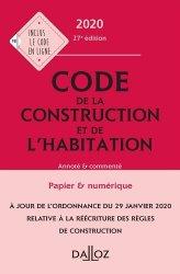 Dernières parutions dans Codes Dalloz Professionnels, Code de la construction et de l'habitation 2020, annoté et commenté