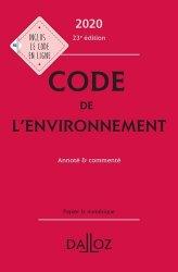 Dernières parutions sur Droit de l'environnement, Code de l'environnement 2020, annoté et commenté