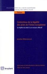 Dernières parutions dans Droit de l'Union européenne, Contentieux de la légalité des actes de l'Union européenne