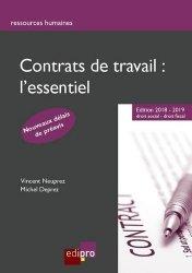 Dernières parutions sur Contrat de travail, Contrats de travail : l'essentiel. Edition 2018-2019