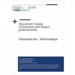 Dernières parutions sur Informatique - Audiovisuel, Document Unique d'évaluation des risques professionnels métier : Informaticien - Informatique - Version 2020