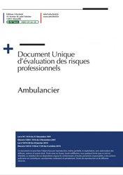 Dernières parutions sur Ambulancier, Document unique d'évaluation des risques professionnels Métier : Ambulancier
