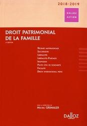 Dernières parutions dans Dalloz Action, Droit patrimonial de la famille. Edition 2018-2019