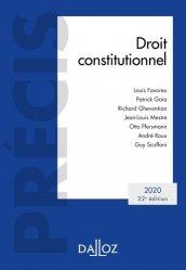 Dernières parutions dans Précis Dalloz, Droit constitutionnel. Edition 2020