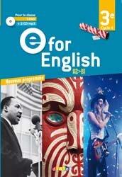Dernières parutions sur 3e, E for English 3e (éd. 2017) : Coffret Classe 2 CD Audio + 1 DVD