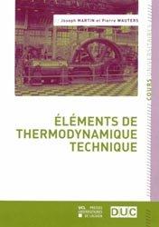 Dernières parutions dans Cours universitaires, Éléments de thermodynamique technique