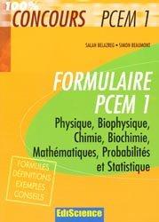 Souvent acheté avec Biologie cellulaire, le Formulaire PCEM 1