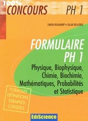 Souvent acheté avec Probabilités et statistique  L1/L2 - PCEM1 - PH1, le Formulaire PH 1