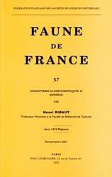 Dernières parutions dans Faune de France, Homoptères Auchénorhynques II Jassidae
