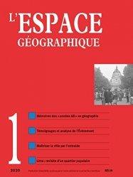 Dernières parutions sur Géographie humaine, L'espace géographique N° 1/2020