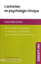 Dernières parutions dans Concept-psy, L'entretien en psychologie clinique majbook ème édition, majbook 1ère édition, livre ecn major, livre ecn, fiche ecn