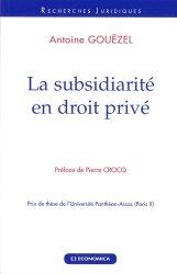 Dernières parutions dans Recherches Juridiques, La subsidiarité en droit privé