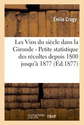 Dernières parutions dans Savoirs et Traditions, Les Vins du siècle dans la Gironde - Petite statistique des récoltes depuis 1800 jusqu'à 1877