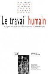 Dernières parutions sur Revues de psychologie, Le travail humain Volume 83 N°2 - 2020
