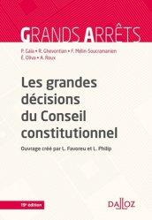 Dernières parutions sur Conseil constitutionnel, Les grandes décisions du Conseil constitutionnel. 19e édition
