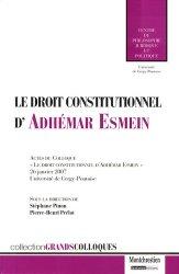 Dernières parutions dans Grands colloques, Le droit constitutionnel d'Adhémar Esmein