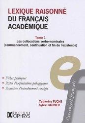 Dernières parutions sur Linguistique, Lexique raisonné du français académique