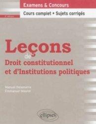 Dernières parutions dans Leçons de droit, Leçons de droit constitutionnel et d'institutions politiques. 2e édition