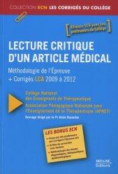 Souvent acheté avec Conférences de consensus et textes officiels de 2000 à 2012, le Lecture critique d'un article médical (LCA)