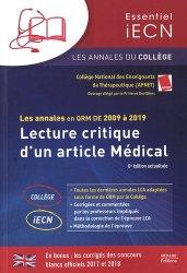 Dernières parutions sur ECN iECN DFASM DCEM, Les annales en QRM DE 2009 à 2019 – Lecture critique d'un article Médical