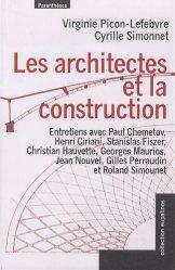 Dernières parutions dans Eupalinos, Les architectes et la construction