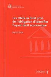 Dernières parutions sur Droit bancaire, Les effets en droit privé de l'obligation d'identifier l'ayant droit économique