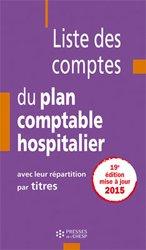 Nouvelle édition Liste des comptes du plan comptable hospitalier
