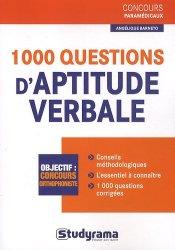Dernières parutions dans Concours paramédicaux, 1000 questions d'aptitude verbale