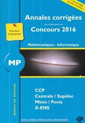 Souvent acheté avec Mathématiques, le MP Mathématiques Informatique 2016