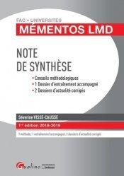 Dernières parutions dans Fac Universités : Mémentos LMD, Note de synthèse. Edition 2018-2019