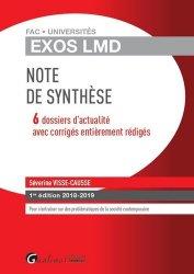 Dernières parutions sur Note de synthèse, Note de synthèse. 6 dossiers d'actualité avec corrigés entièrement rédigés, Edition 2018-2019