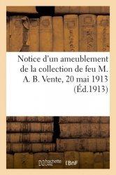 Dernières parutions sur Design - Mobilier, Notice d'un ameublement de salon de la collection de feu M. A. B. Vente, 20 mai 1913