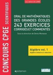Dernières parutions sur Maths pour la prépa, Oral de mathématiques des grandes écoles, 243 exercices corrigés