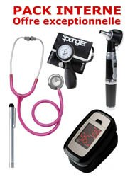 Dernières parutions sur Pack Médecine, PACK INTERNE - Tensiomètre manopoire SPENGLER Lian Nano - Stéthoscope Magister - Otoscope Spengler SMARTLED à LED et fibre optique  - OXYSTART Oxymètre de pouls  -Lampe stylo à LED Litestick Spengler  - ROSE