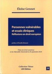 Dernières parutions sur Droit communautaire, Personnes vulnérables et essais cliniques Réflexions en droit européen