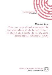 Dernières parutions dans Droit et Sciences politiques, Pour un nouvel ordre mondial de l'alimentation et de la nutrition. Le statut du Comité de la securité alimentaire mondiale (CSA)