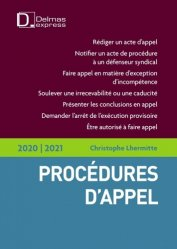 Dernières parutions dans Delmas express, Procédures d'appel. Edition 2020-2021