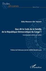 Dernières parutions dans Etudes africaines, Que dit le Code de la famille de la République Démocratique du Congo ?