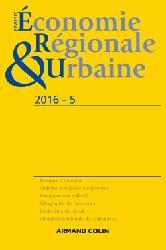 Dernières parutions dans Revue d'économie régionale et urbaine, Revue d'économie régionale et urbaine nº 5/2016