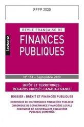 Dernières parutions sur Finances publiques, REVUE FRANÇAISE DE FINANCES PUBLIQUES N 151-SEPTEMBRE 2020