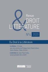 Dernières parutions sur Revues de droit et justice, Revue Droit & Littérature N° 4/2020