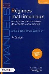 Dernières parutions sur Droit des régimes matrimoniaux, Régimes matrimoniaux et régimes patrimoniaux des couples non mariés. Edition 2020